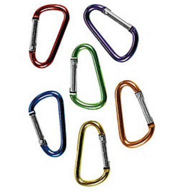 Mini Carabiner Clips, 6 assorted